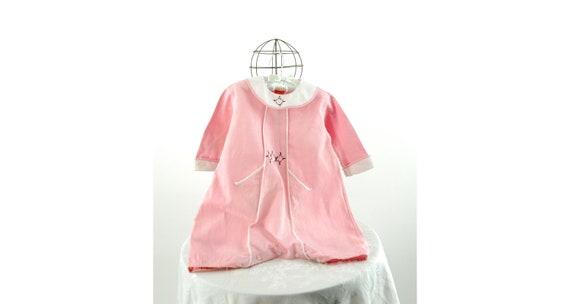 1920s 30s child's romper pink linen bubble with em