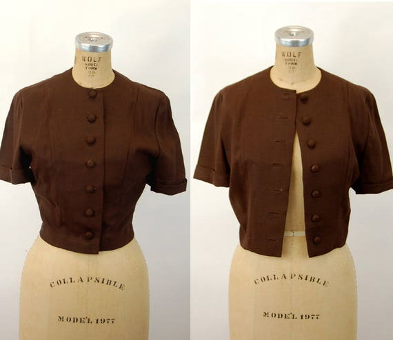1940s jacket linen cropped jacket brown fitted co… - image 1