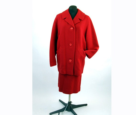 1950s wool suit walking coat skirt red tweed winte