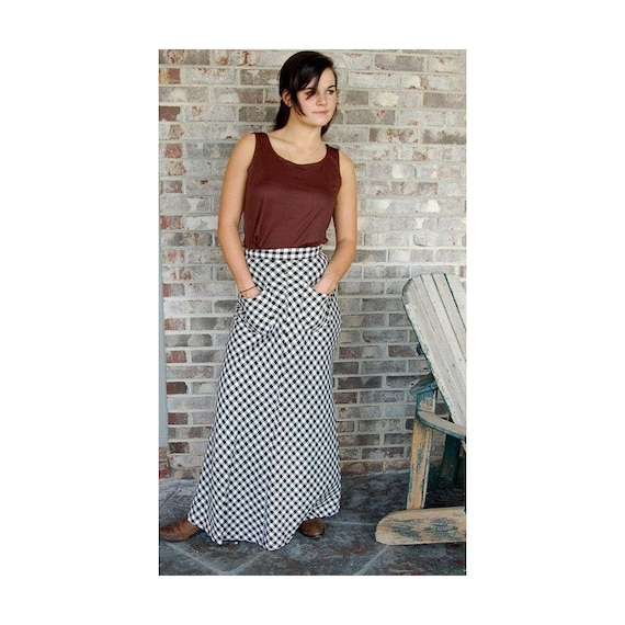 1970s maxi skirt, brown white checks, checkered sk