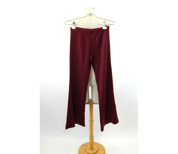 1970s knit pants bell bottom pants stretch burgund