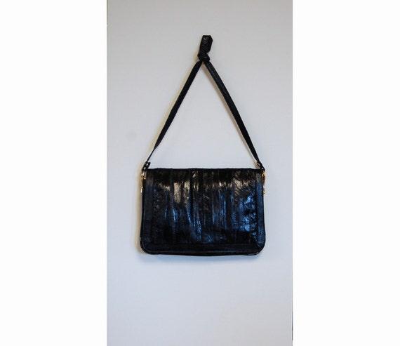 1980s eel skin purse, black eel skin shoulder bag… - image 2
