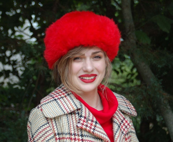 1960s fur hat lambswool shearling red fur hat wint