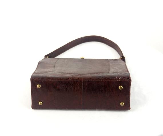 1950s lizard skin purse handbag kelly bag brown l… - image 3