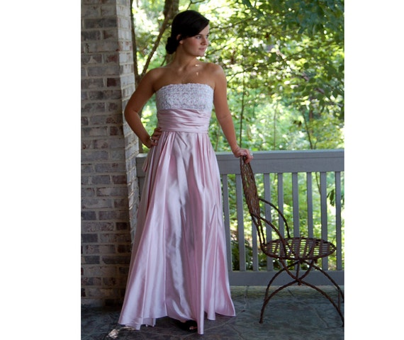 1980s strapless gown, 80s does 50s, pink satin gow