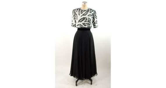 1980s beaded chiffon gown black white formal dress