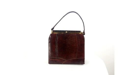 1950s lizard skin purse handbag kelly bag brown l… - image 4