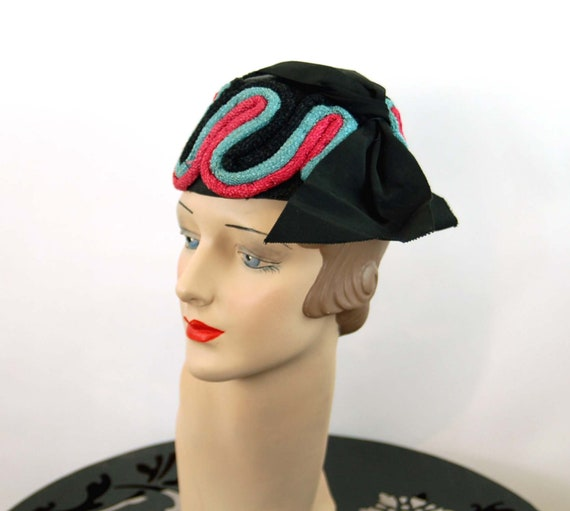 1940s hat toque hat black pink turquoise rope loo… - image 2