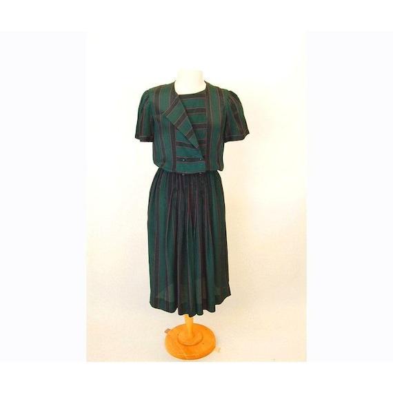 1980s secretary dress, striped dress, green pink,