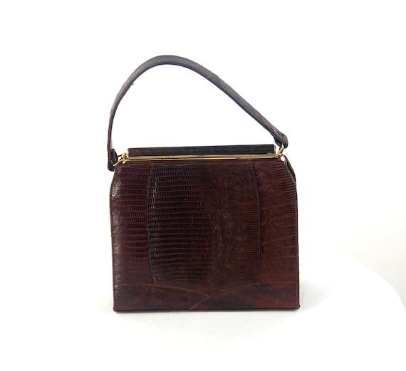 1950s lizard skin purse handbag kelly bag brown l… - image 6
