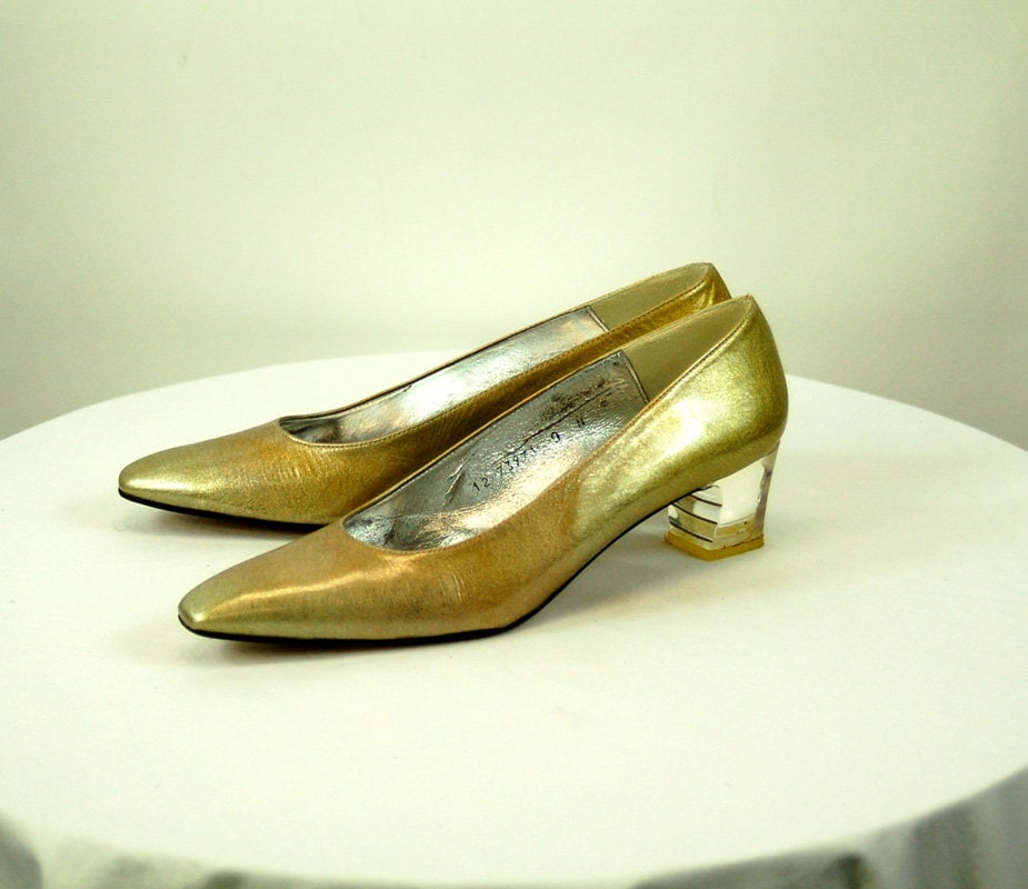 Gold pumps with clear lucite heels low heels patent leather