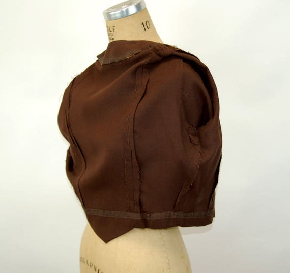 1940s jacket linen cropped jacket brown fitted co… - image 6