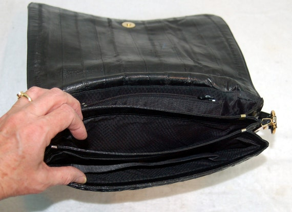 1980s eel skin purse, black eel skin shoulder bag… - image 5