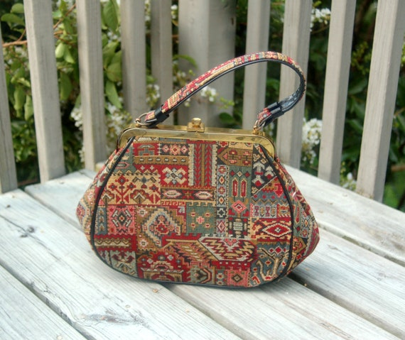 1950s tapestry handbag tribal designs framed bag K