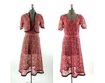 1930s lace dress and bolero rose pink and black with silk velvet trim Size M