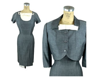 1950s gray silk dress and jacket herringbone with detachable dickie Size S/M