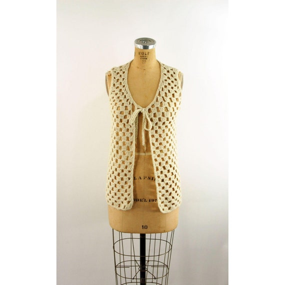 1960s 70s crocheted vest ivory long vest hippie ve