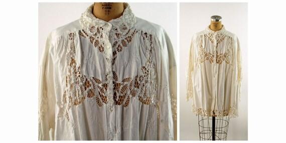 1980s Edwardian style lace smock blouse white cott