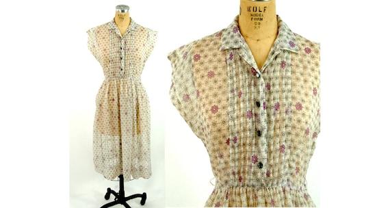 1940s sheer floral shirtwaist dress 1940s daisy dr