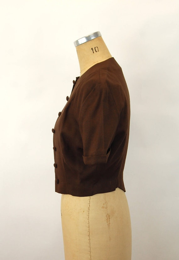 1940s jacket linen cropped jacket brown fitted co… - image 2