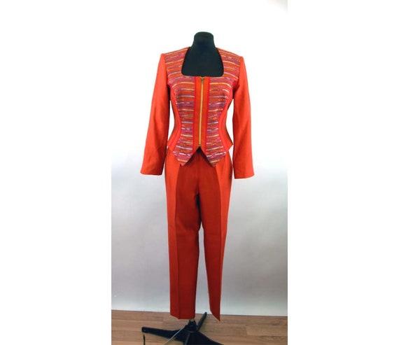 1990s pant suit burnt orange corset top zip front