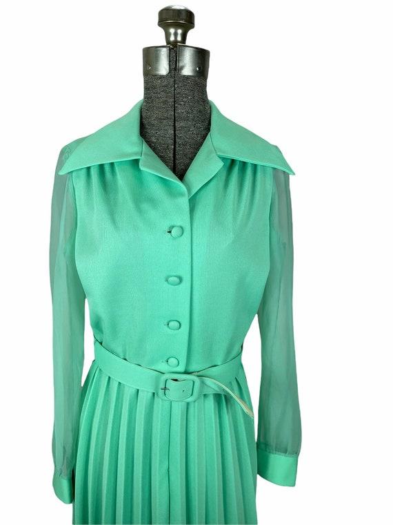 1970s mint green pleated maxi dress chiffon sleev… - image 2