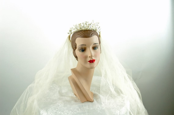 1950s wedding veil and bridal headpiece ivory tull