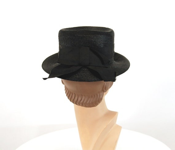 1940s tilt hat black straw summer hat tall hat Si… - image 4