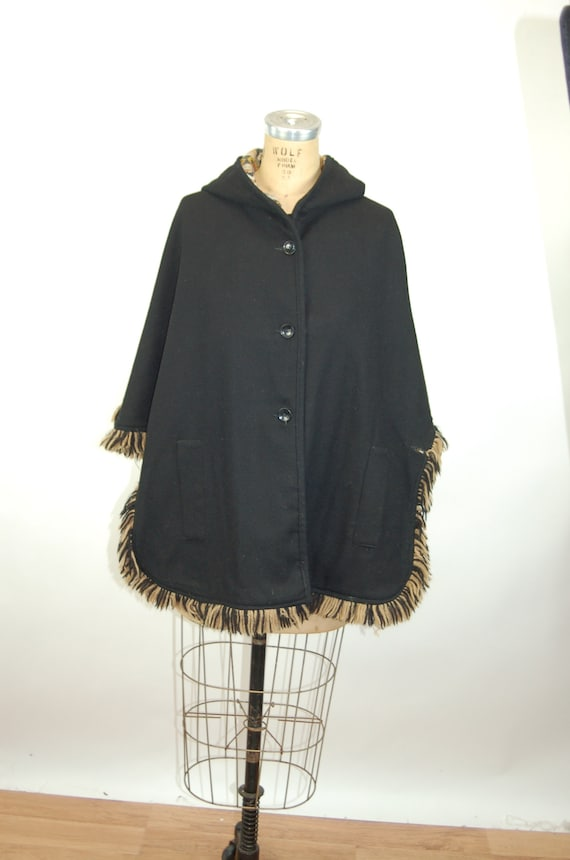 1960s cape reversible wool cape poncho with hood … - image 7