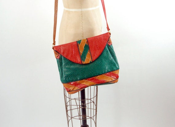 1980s leather patchwork bag shoulder bag by Sharf