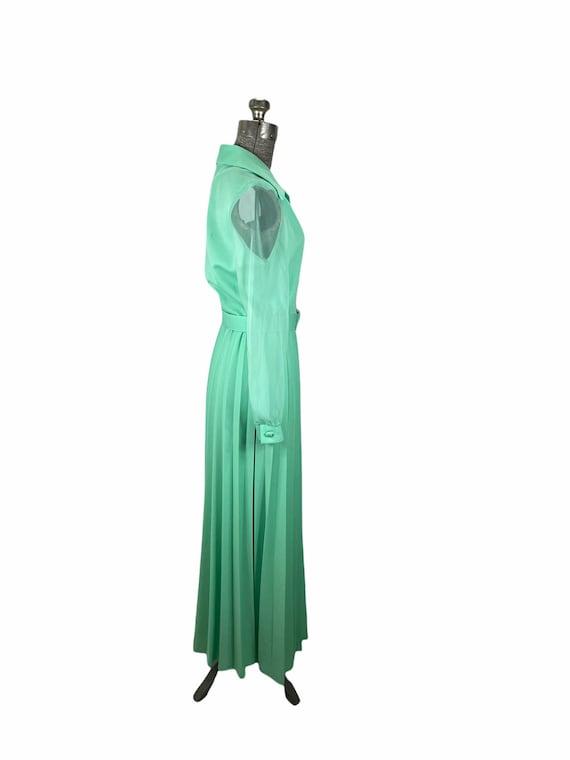 1970s mint green pleated maxi dress chiffon sleev… - image 5