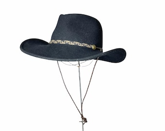 Black cowboy hat with leather lanyard by Renegade Headwear water repellent packable Size M