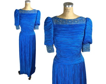 1980s blue pleated beaded formal gown by Richilene Size m/L