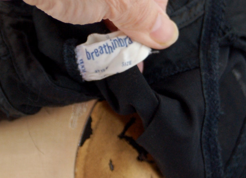 1960s slip with bra  longline bra and slip black spiderweb lace Size 34 Breathinbra