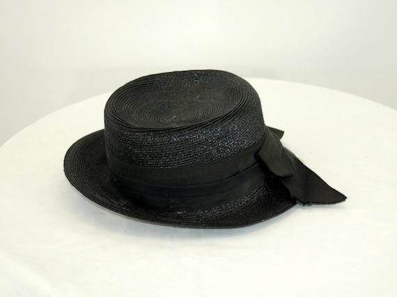 1940s tilt hat black straw summer hat tall hat Si… - image 5