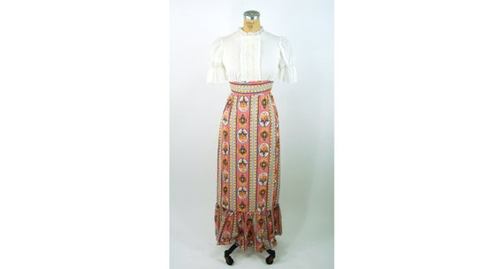 1960s maxi dress peasant dress puffed sleeves flor