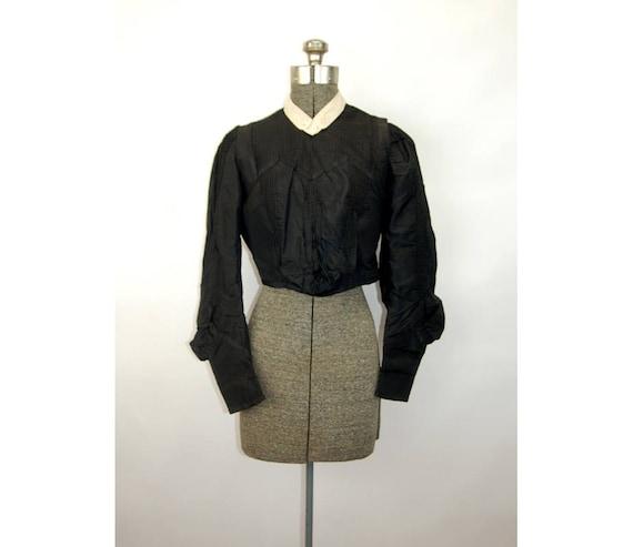 Black silk blouse waist bodice 1900s Edwardian Vic