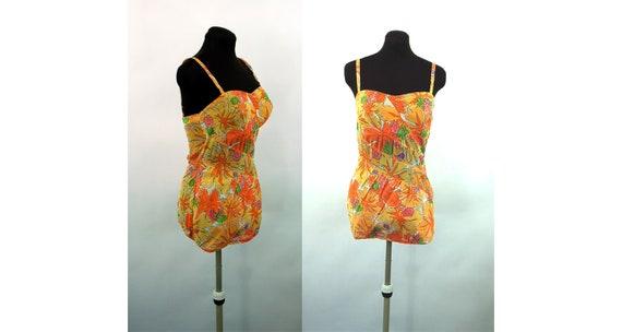 1950s bathing suit swimsuit play suit orange flora