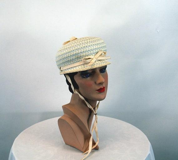 1960s hat white straw bubble tilt hat jockey styl… - image 2