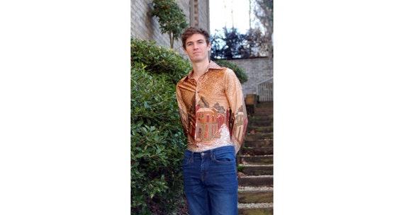 1970s silky shirt disco shirt novelty graphics bui