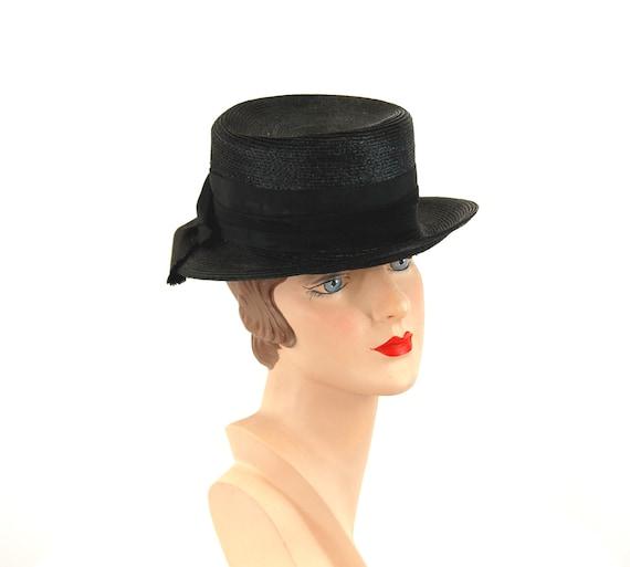 1940s tilt hat black straw summer hat tall hat Si… - image 3