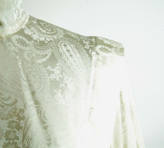 Ivory silk jacquard paisley blouse Victorian styl… - image 6