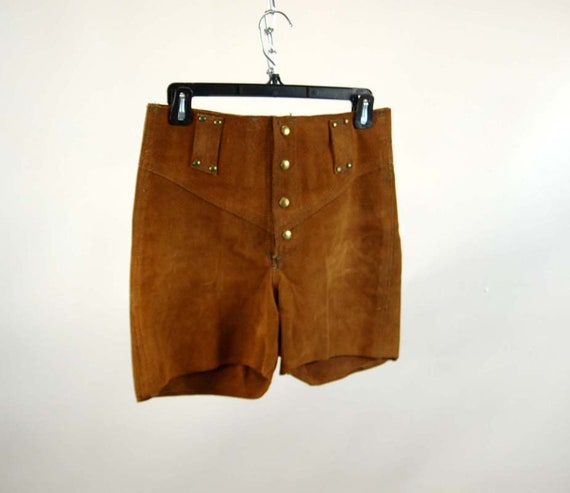 1970s leather shorts suede hot pants snap front br