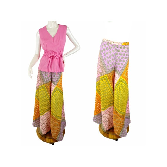 1960s/70s palazzo pants and top patchwork print w… - image 1