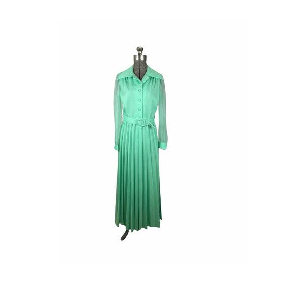1970s mint green pleated maxi dress chiffon sleev… - image 1