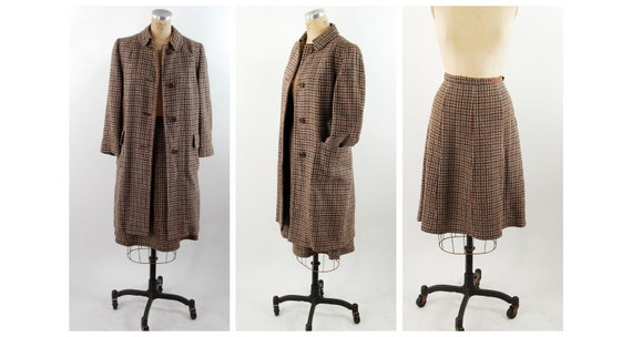 1960s tweed suit coat and skirt set brown red plai