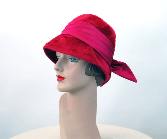 1960s hat pink fur cloche hat Duchess Amy New York Made in  89535a985e2