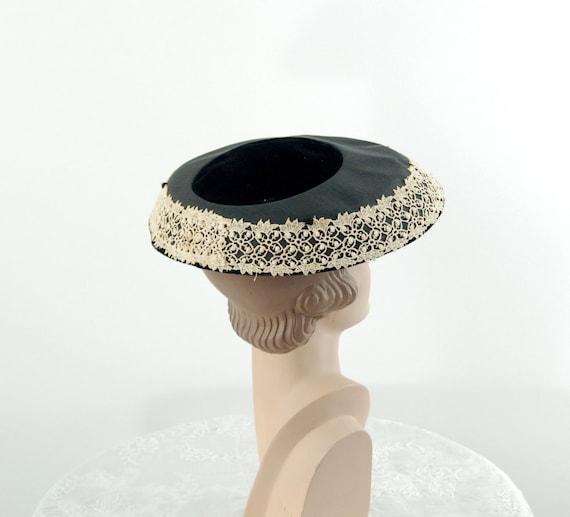 1950s saucer hat New Look dish platter hat black … - image 3
