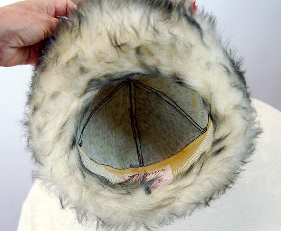 1960s winter hat fur hat black vinyl and faux fur… - image 8