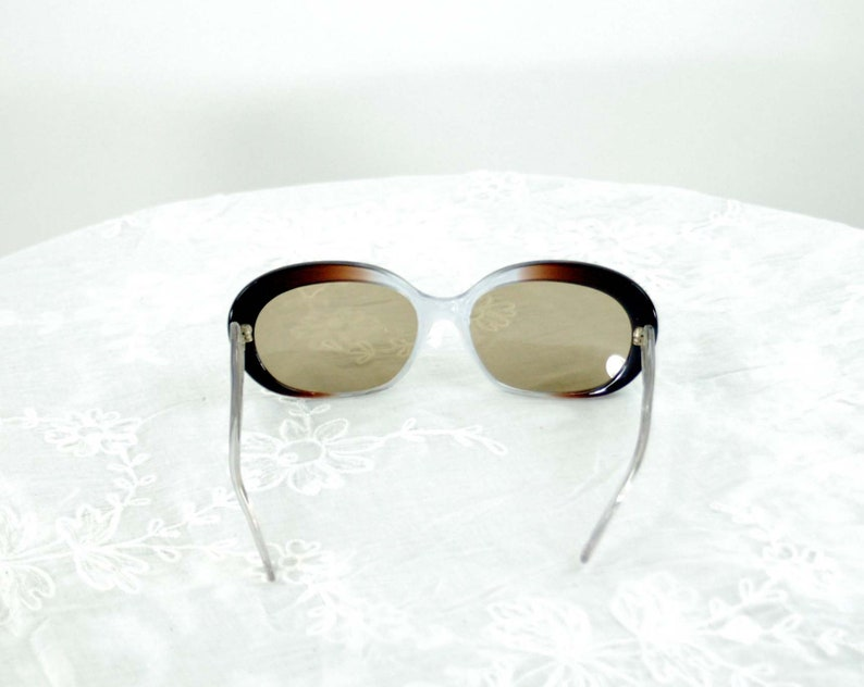 1960s sunglasses large frame blue brown gradated plastic frames Made in Italy